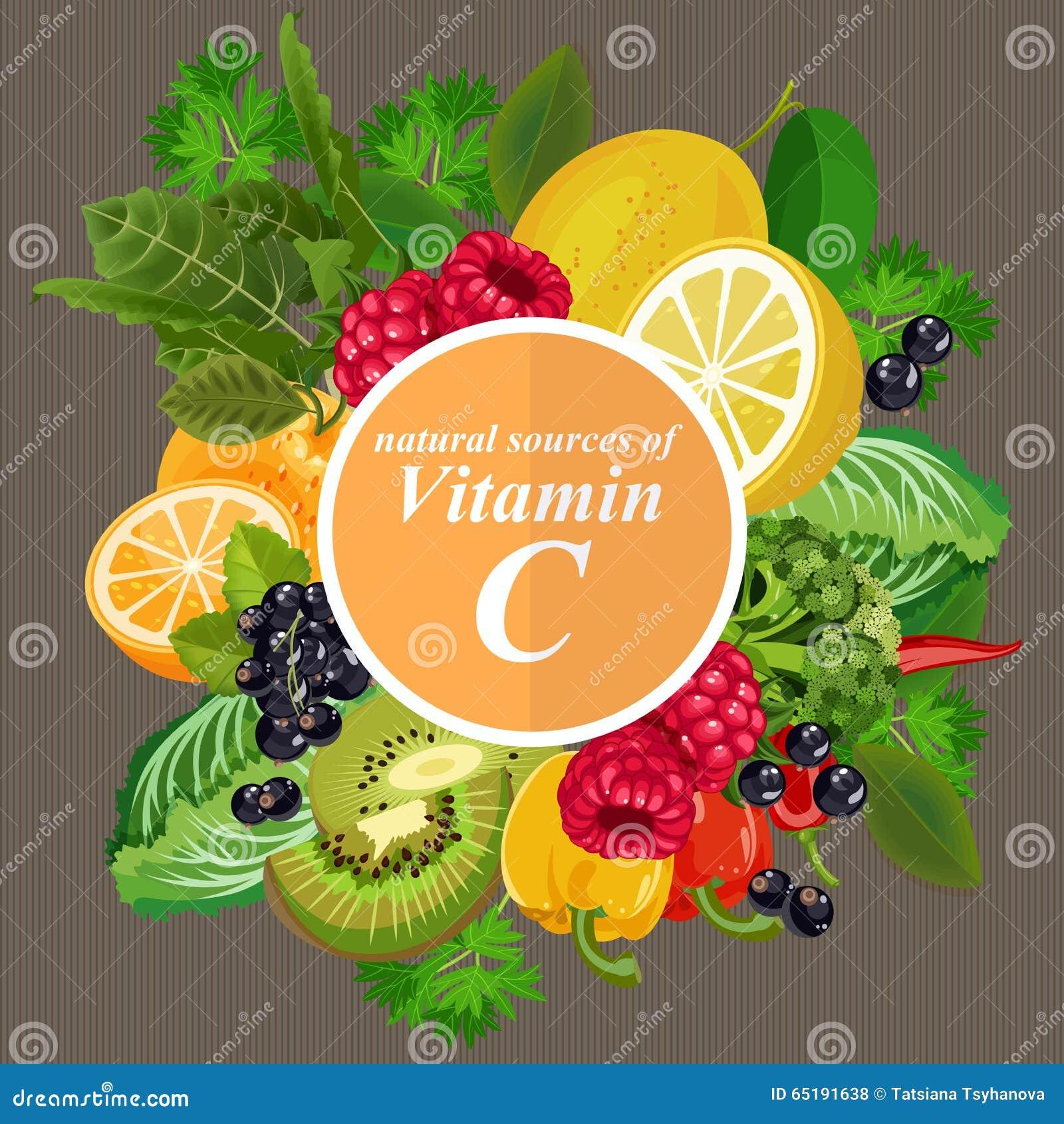 Groepen gezond fruit, groenten, vlees, vissen en zuivelproducten die specifieke vitaminen bevatten Vitamine C