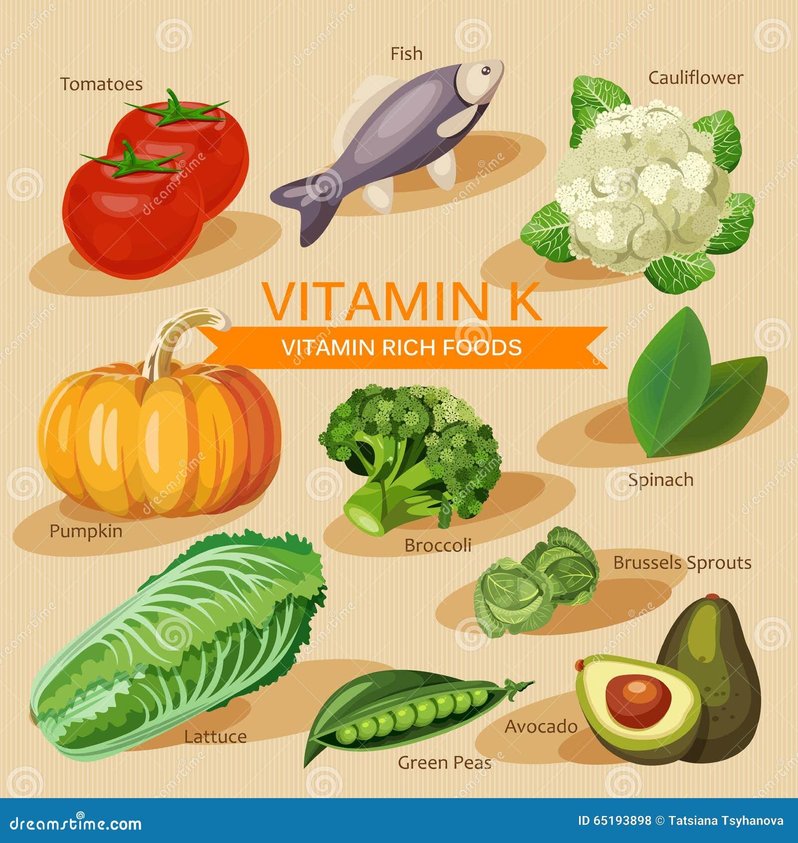 Groepen gezond fruit, groenten, vlees, vissen en zuivelproducten die specifieke vitaminen bevatten Vitamine K
