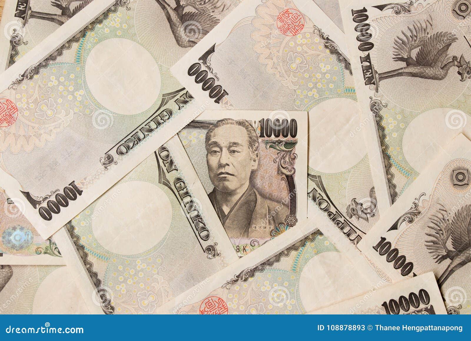 Groeps Japans bankbiljet 10000 Yenachtergrond