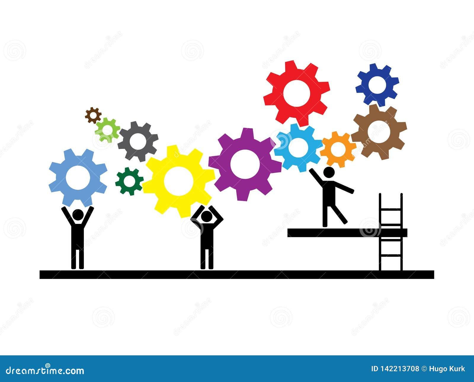 Groepswerk, mensen die aan lopende band samenwerken