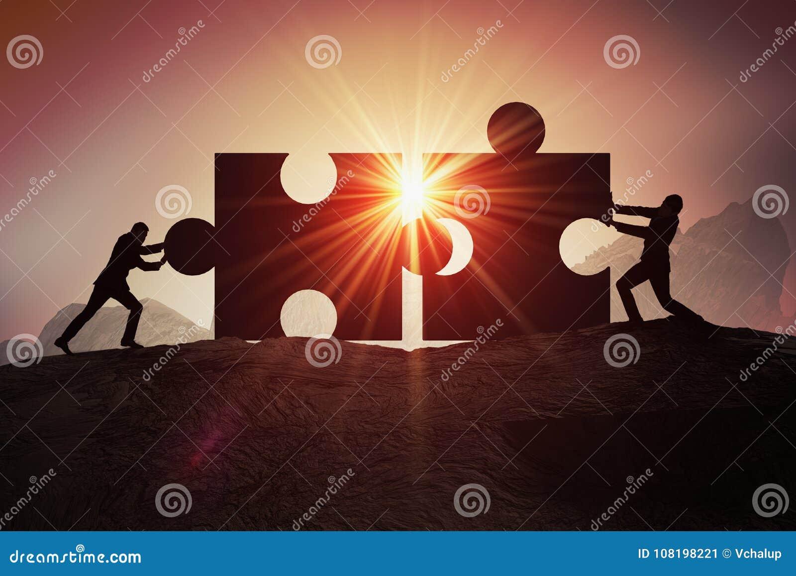 Groepswerk, vennootschap en samenwerkingsconcept Silhouetten van zakenman twee die bij twee stukken van raadsel zich samen aanslu