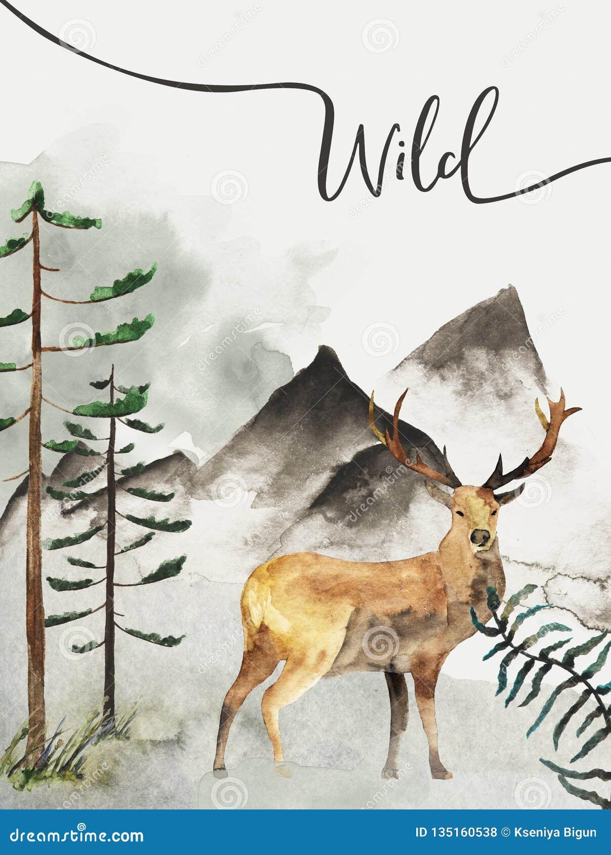 Groetkaart met achtergrond van bos en bergen Kinderen` s Thema prentbriefkaar met herten wildlife