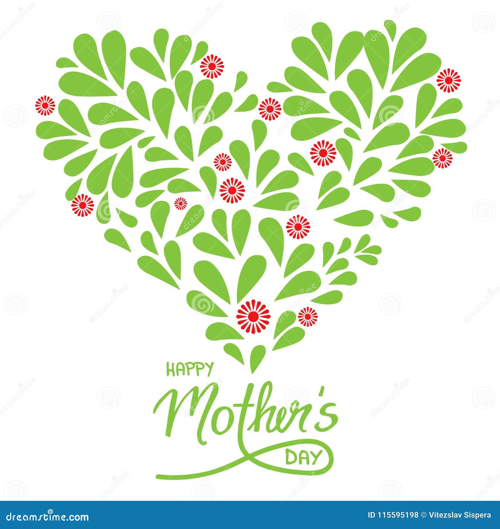 Groetkaart met de met de hand geschreven dag en het hart van teken Gelukkige Moeders