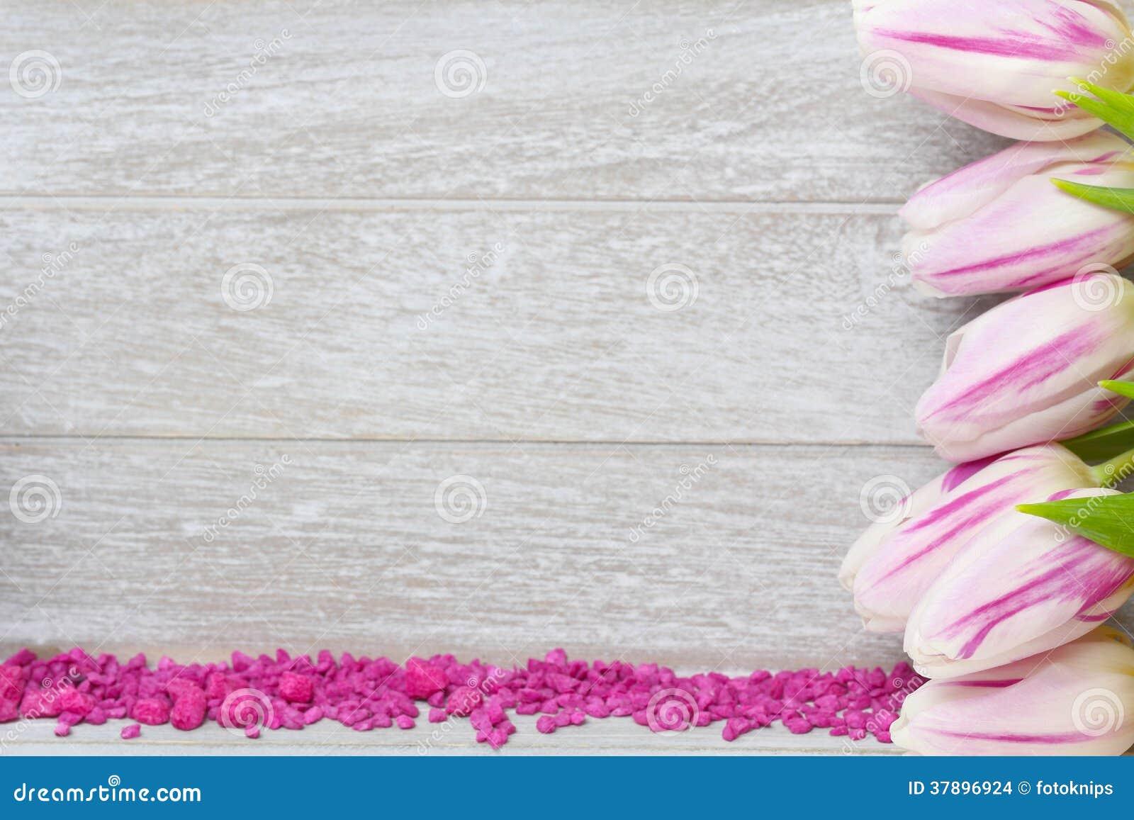Groetkaart met tulpen en decoratieve stenen
