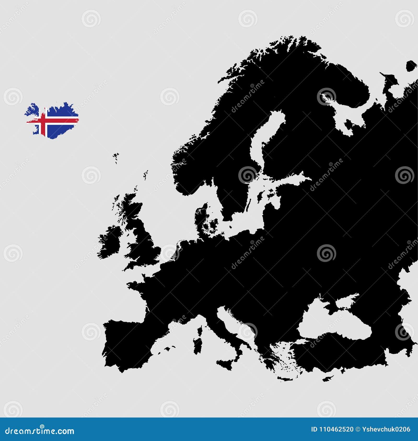 Grondgebied Van Ijsland Op De Kaart Van Europa Op Een Grijze