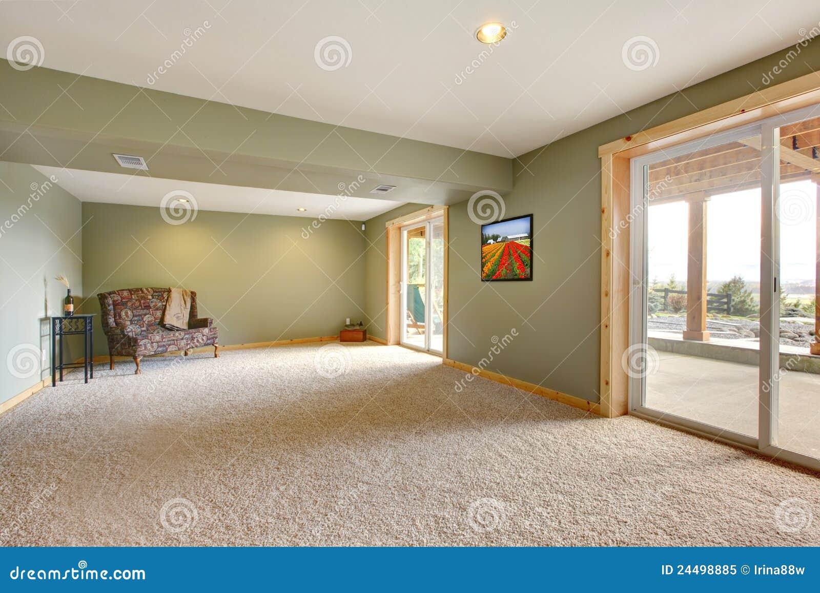 Groene Wand Woonkamer : Grondniveau grote nieuwe woonkamer met groene muren. stock