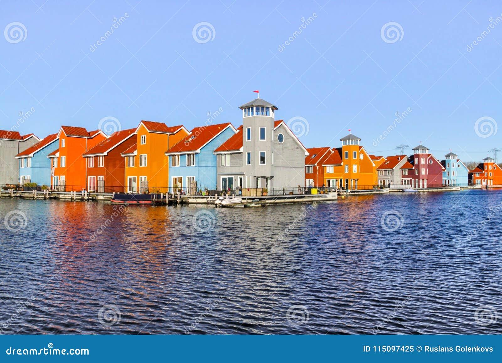 Groningen Netherlands February 2018 Colourfull Houses Editorial
