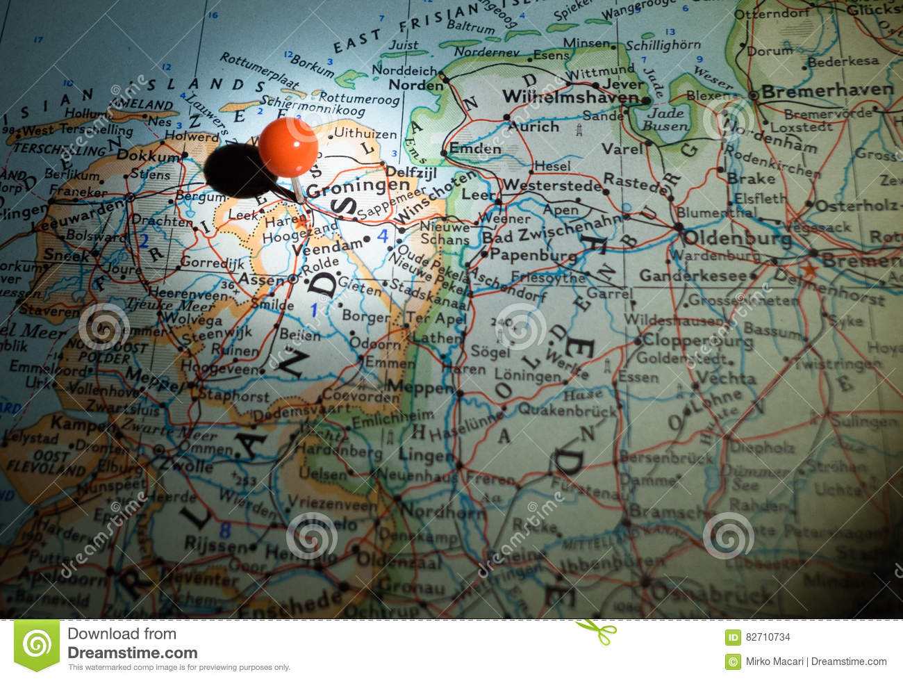 Groningen The Netherlands Pinned On The Route Map Stock Photo ...