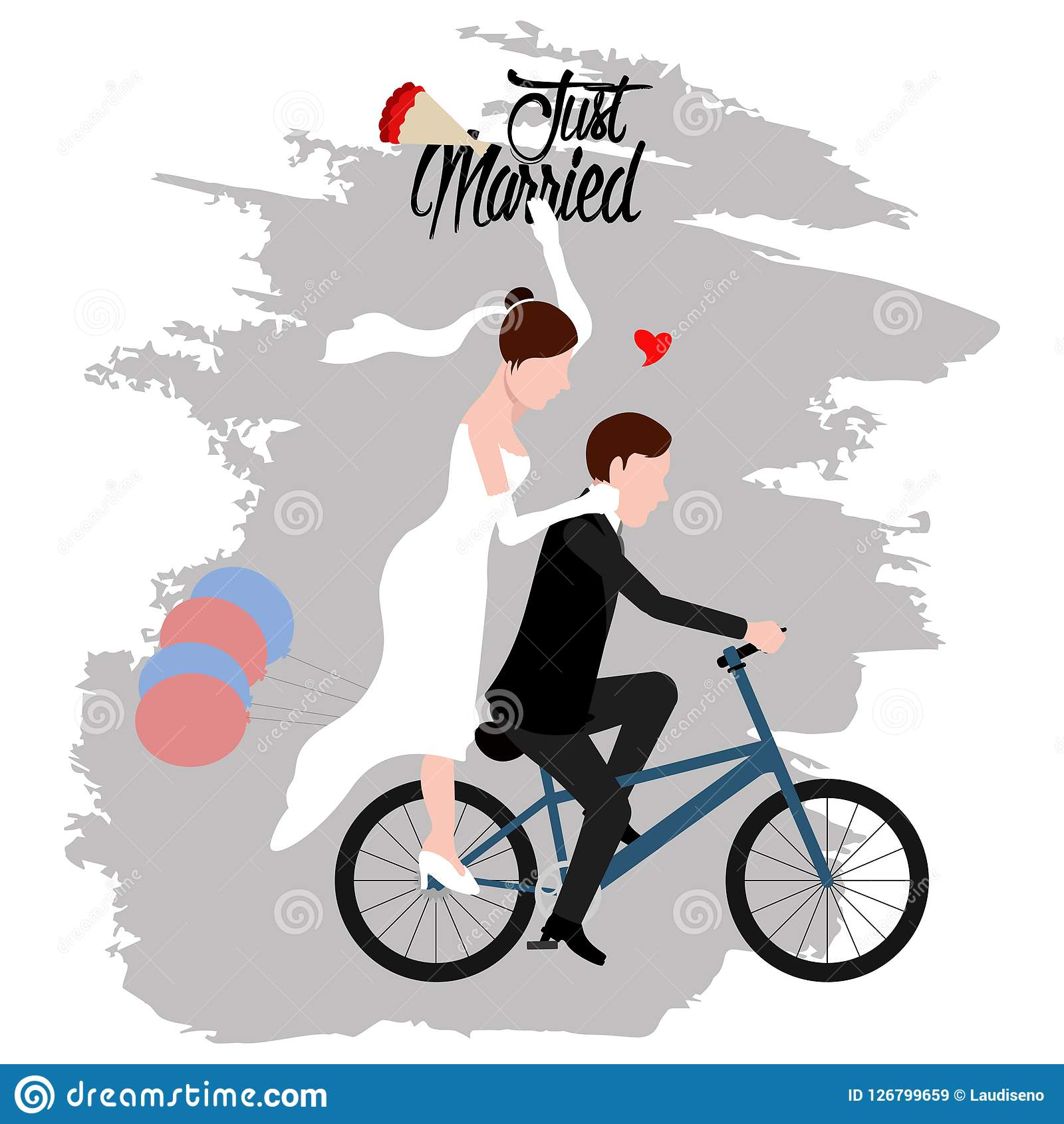 Groom And Bride On A Bicycle. Just Married Couple Stock