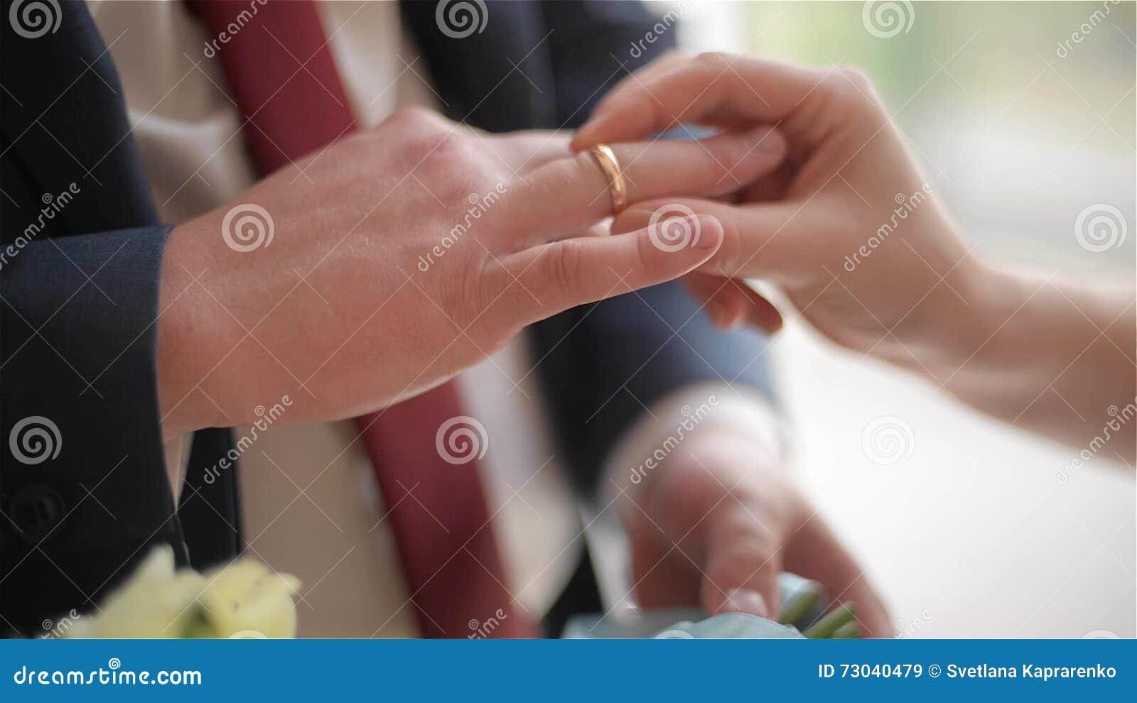 Groom And Bride Exchange Wedding Rings Newlyweds Exchange Rings