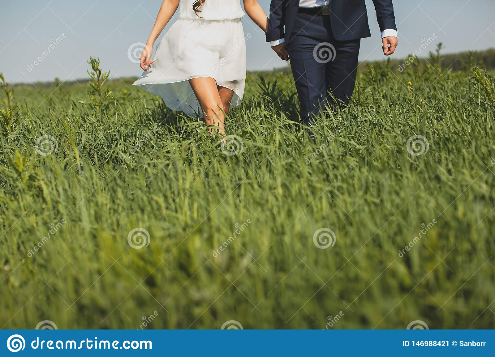 The groom in a classic suit and the bride in a short white light dress, in the tall green grass. A guy and a girl holding hands,