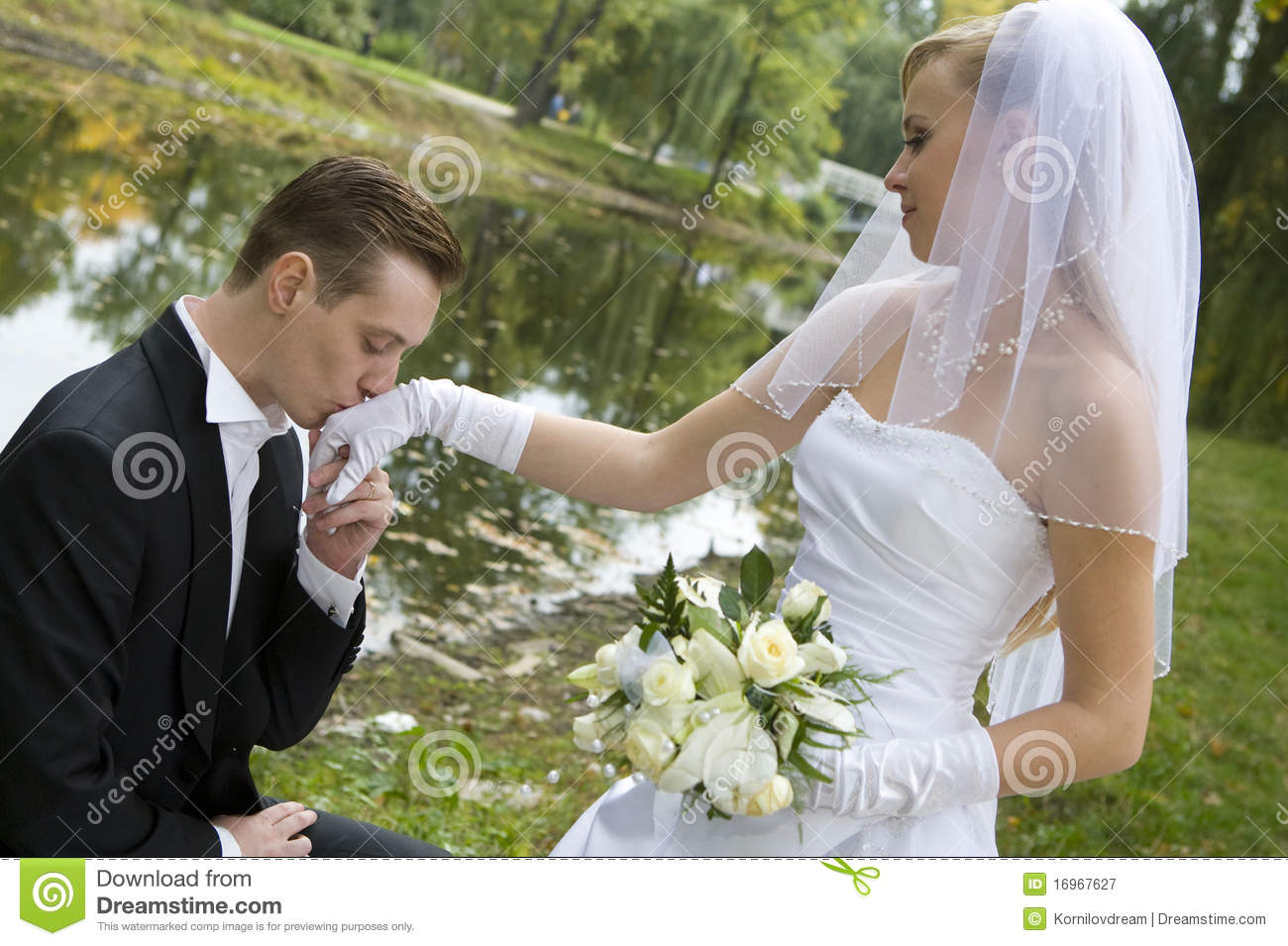 Groom kissing bride39s hand stock image Image