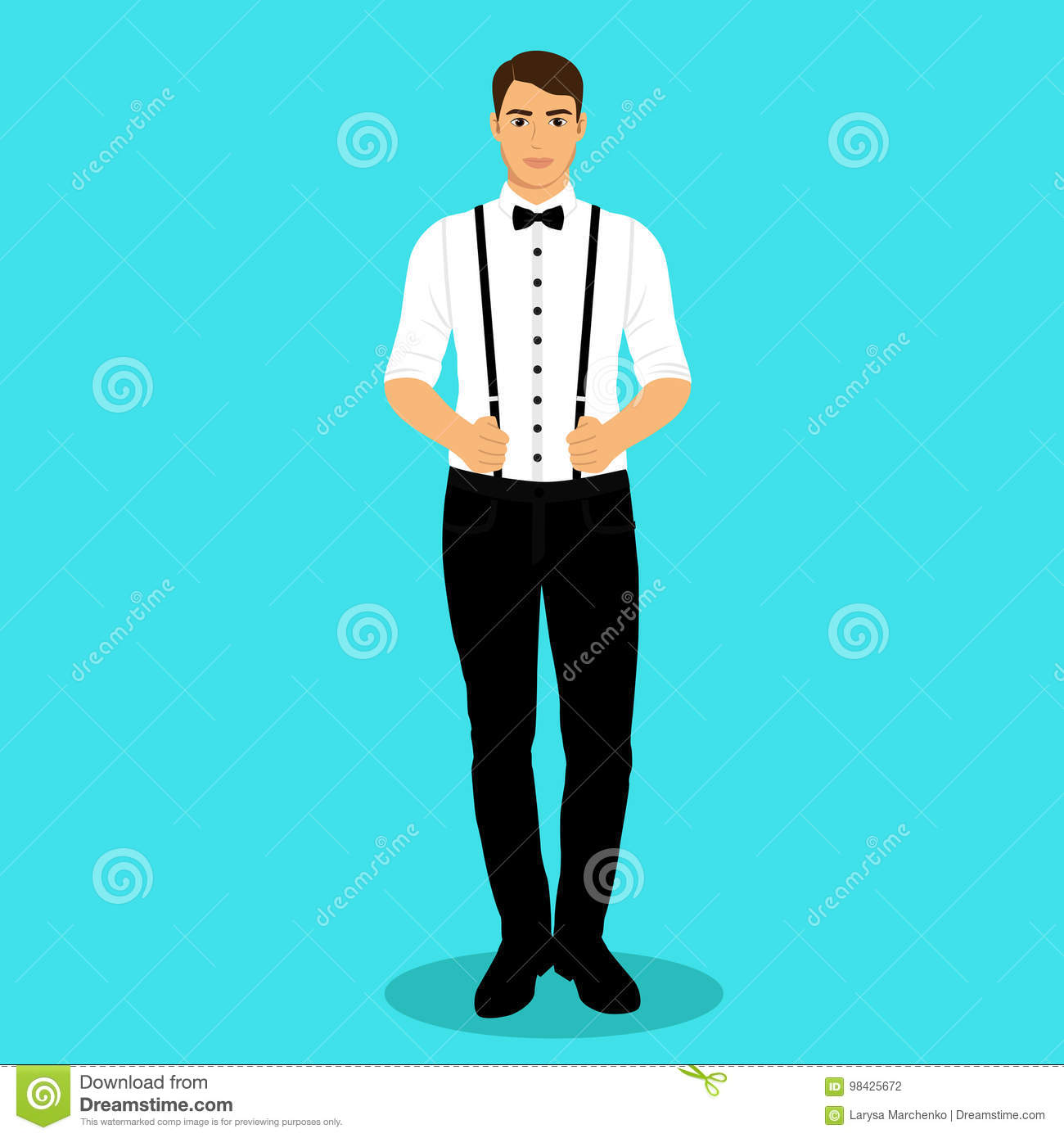 The Groom. A Man With Suspenders. Stock Vector - Illustration of ...
