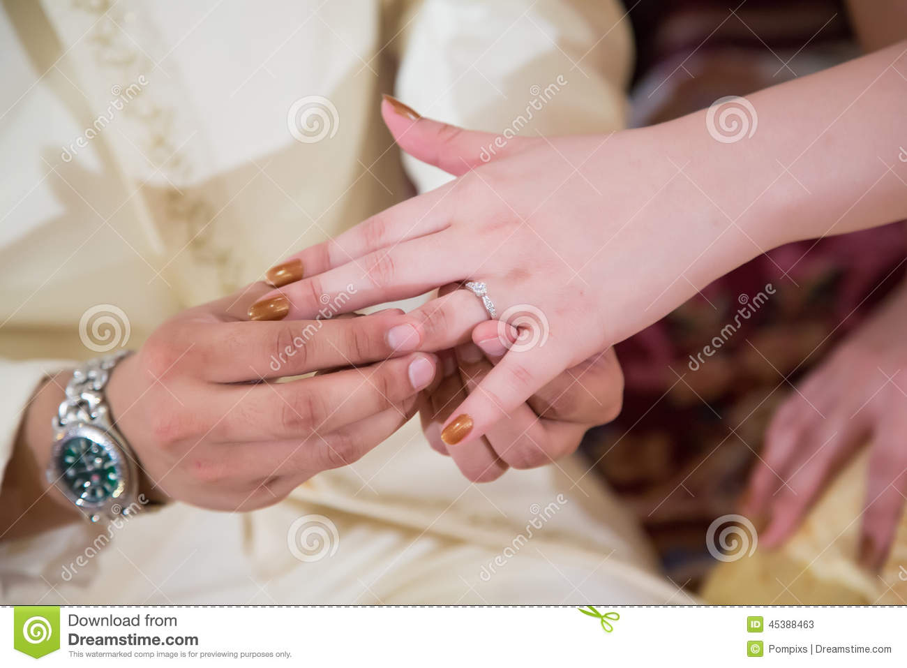 The Groom Put The Wedding Ring On His Bride Stock Image - Image of ...