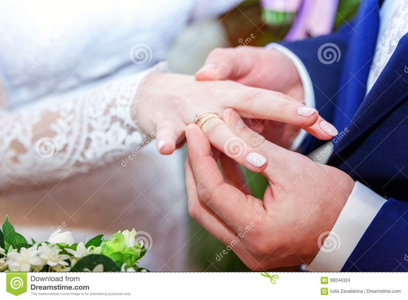 The Groom Wears A Ring On The Bride`s Stock Photo - Image of ...