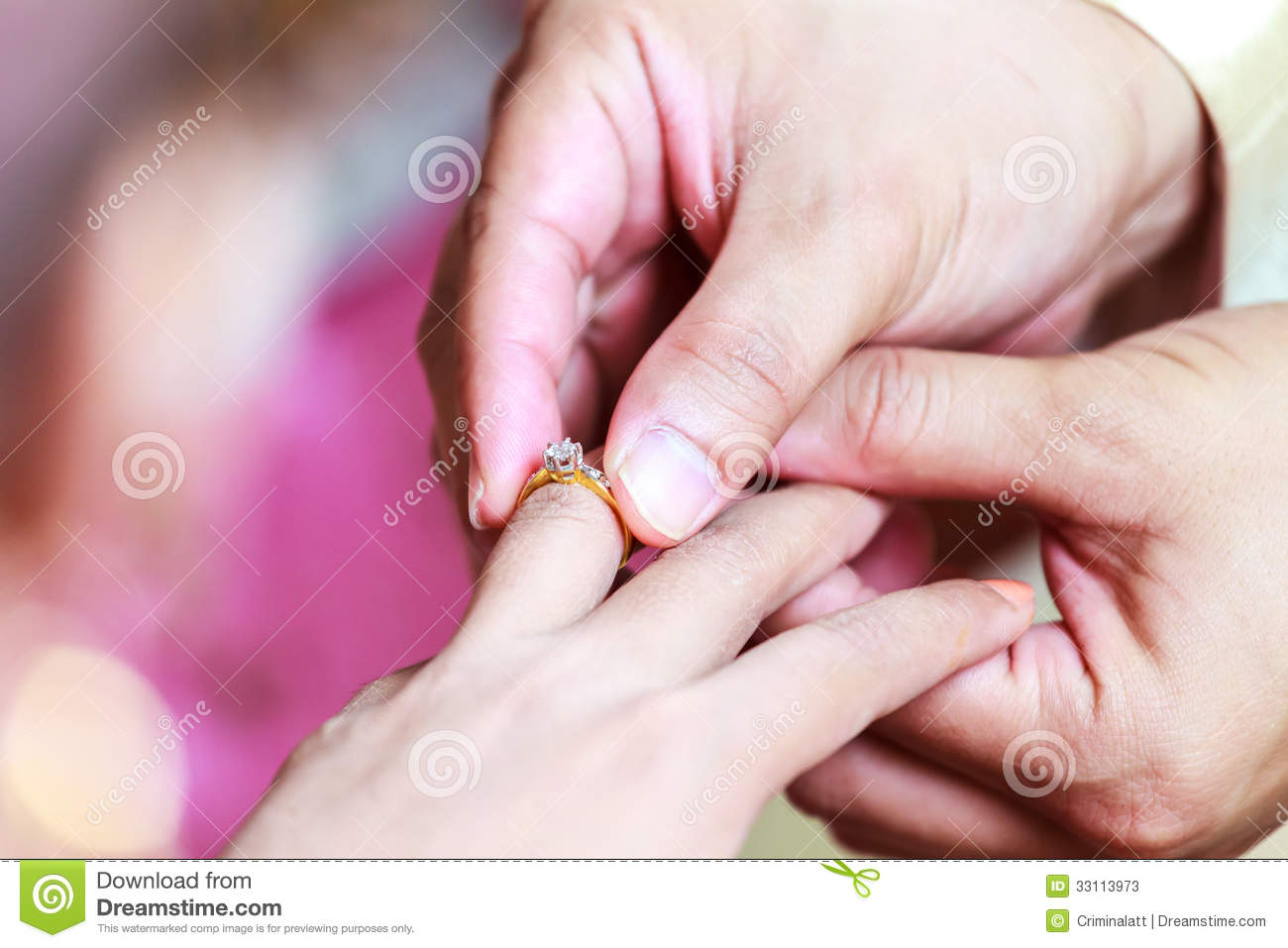 Groom Wearing Ring On Bride\'s Finger Stock Image - Image of ...