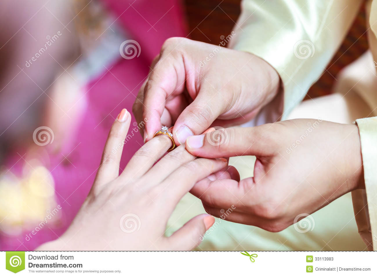 Groom Wearing Ring On Bride\'s Finger Stock Image - Image of together ...
