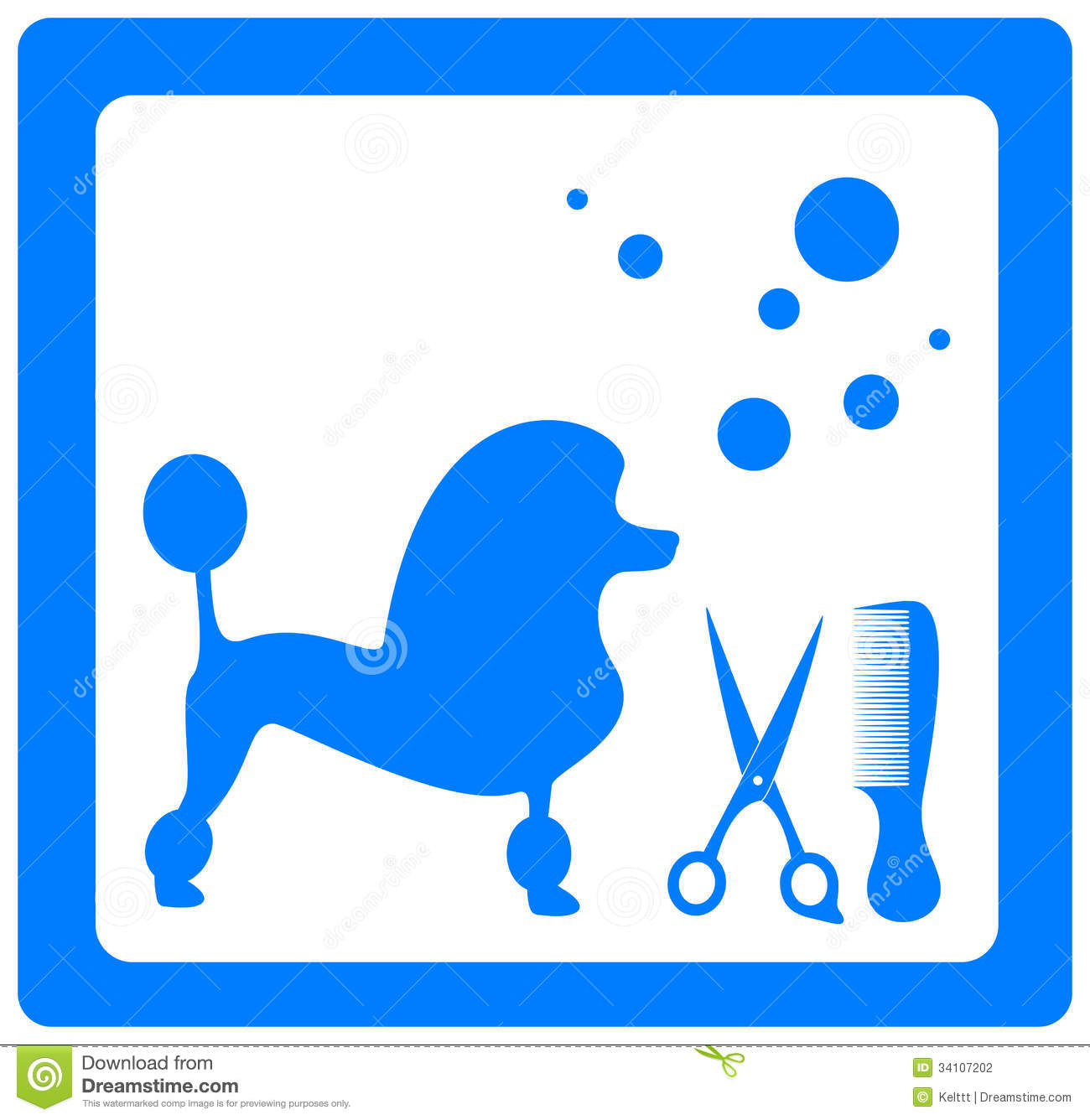 Grooming Symbol With Poodle, Scissors And Comb Stock Photography ...