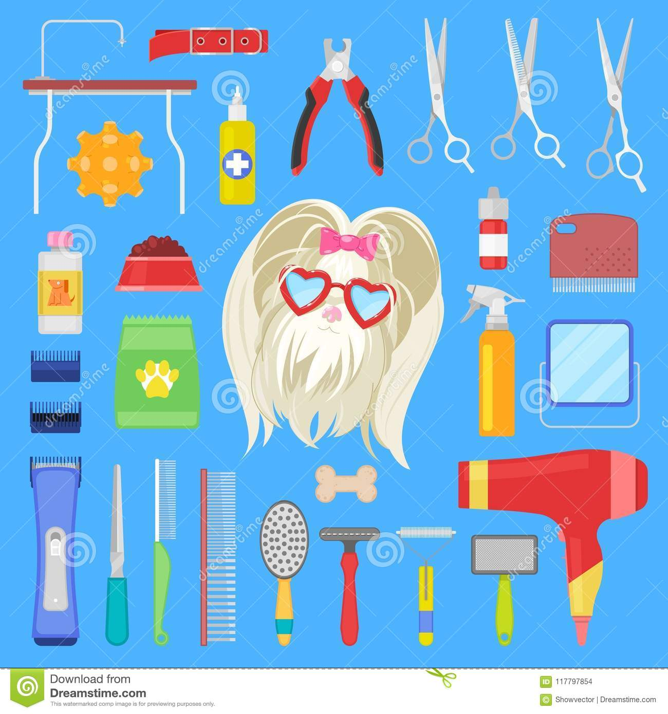 Grooming Vector Dog Character With Haircut And Tools Scissors Comb