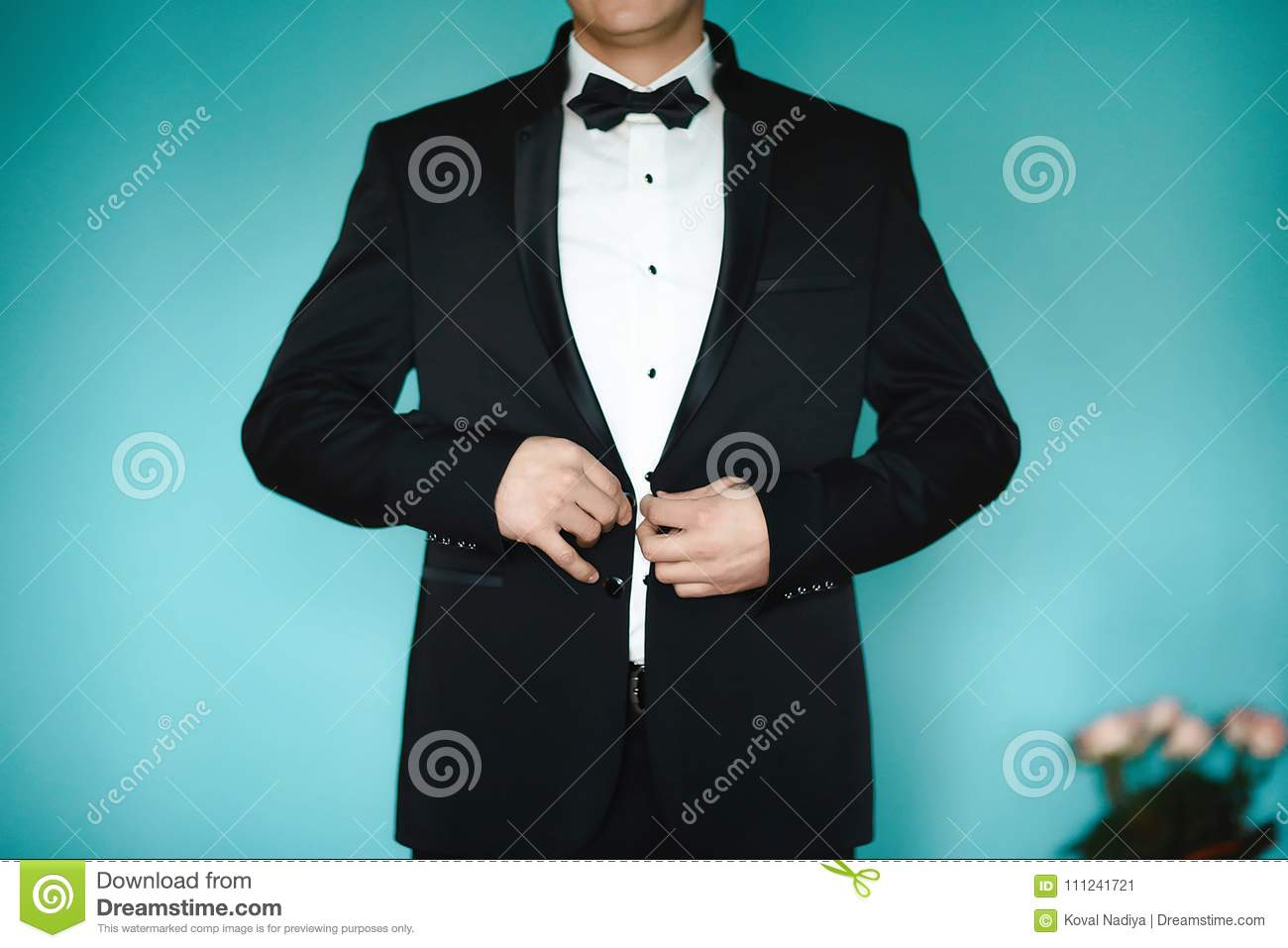 Grooms Morning Preparation, Handsome Groom Getting Dressed And ...