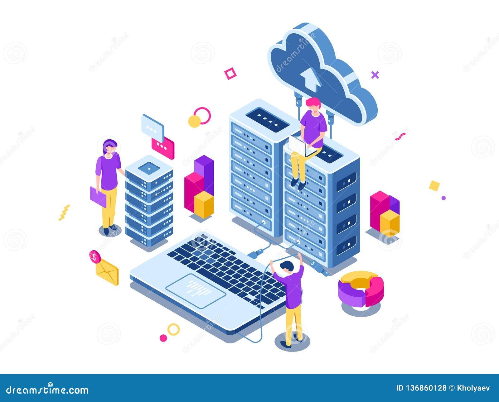 Groot datacentrum, het rek van de serverruimte, techniekproces, groepswerk, computertechnologie, wolkenopslag, het bevelwerk