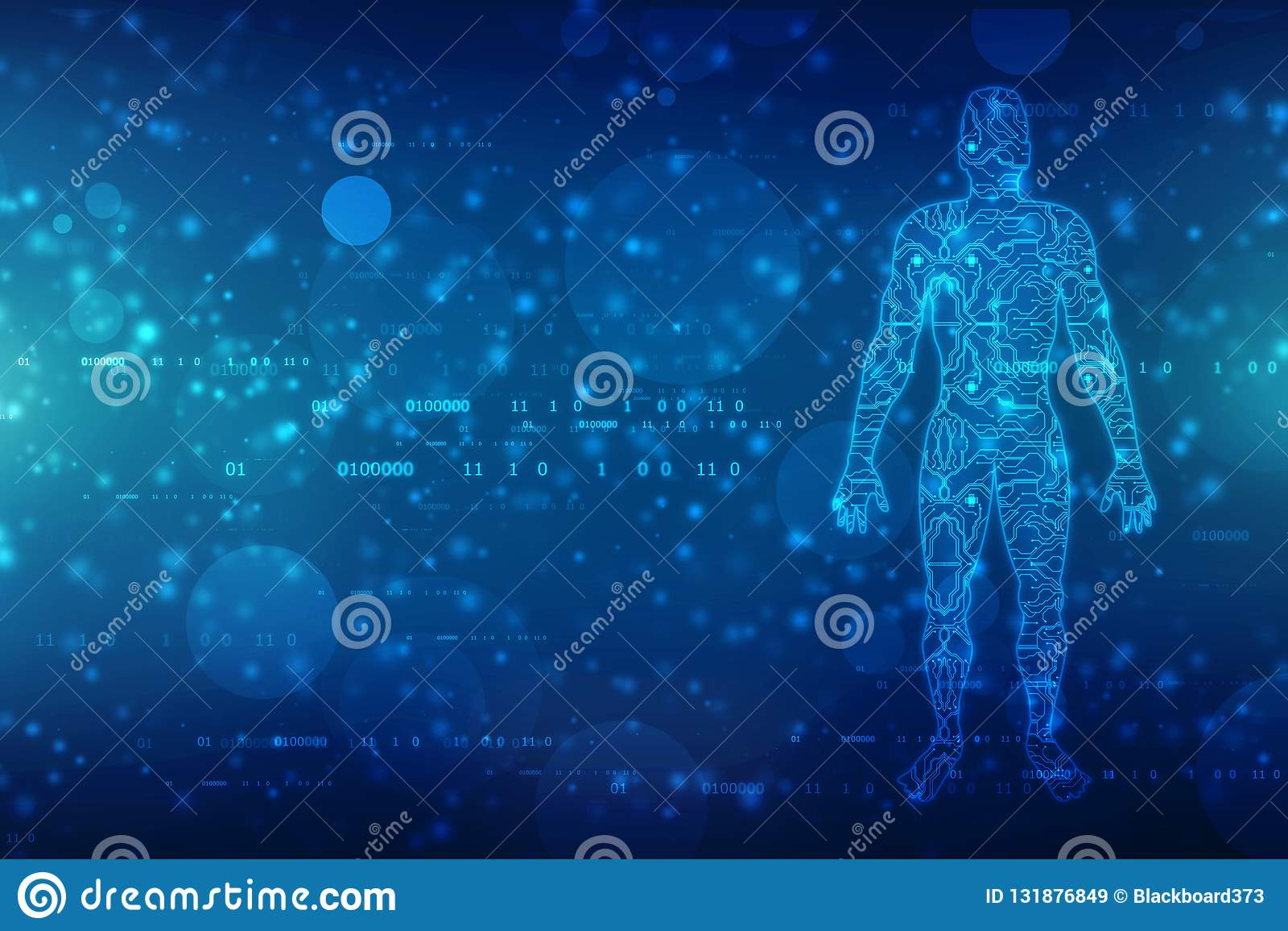 Groot gegevens en kunstmatige intelligentieconcept, mensenoverzicht met kringsraad en binaire gegevensstroom op technologieachter