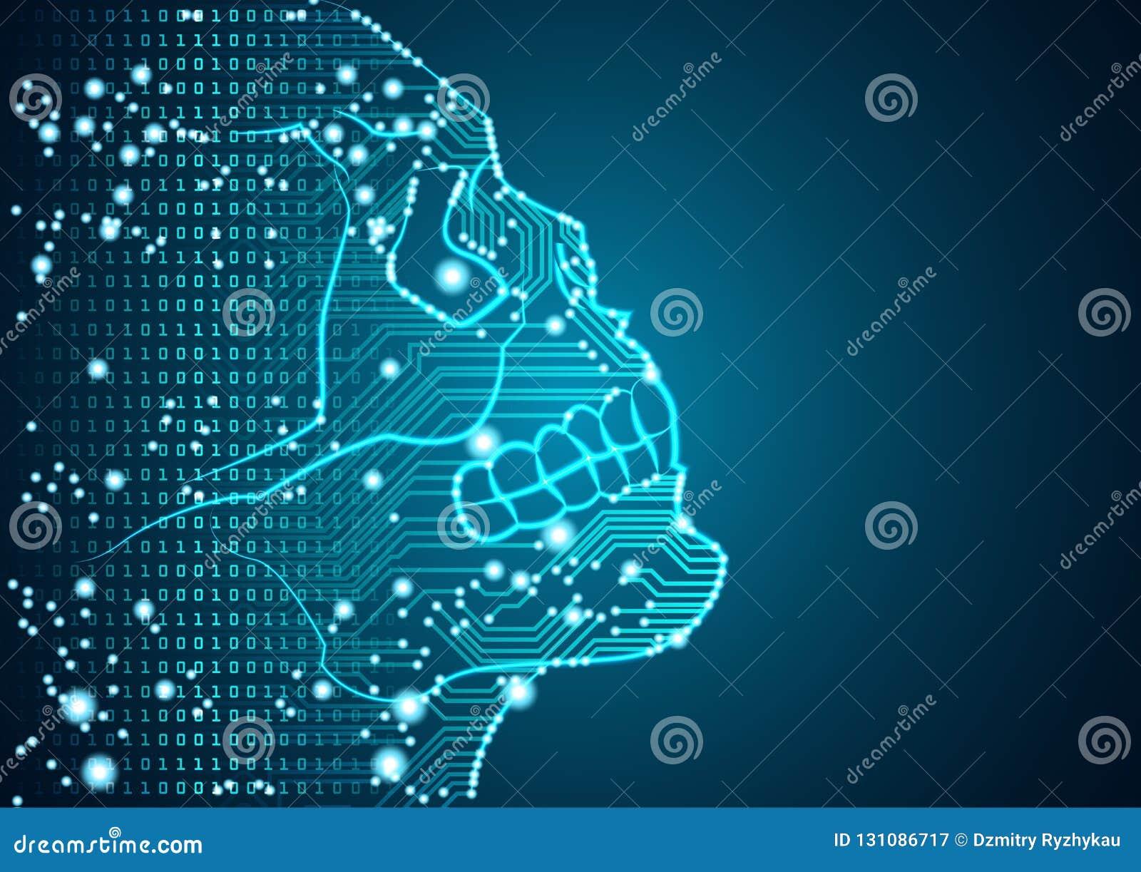 Groot gegevens en kunstmatige intelligentiegevaarsconcept