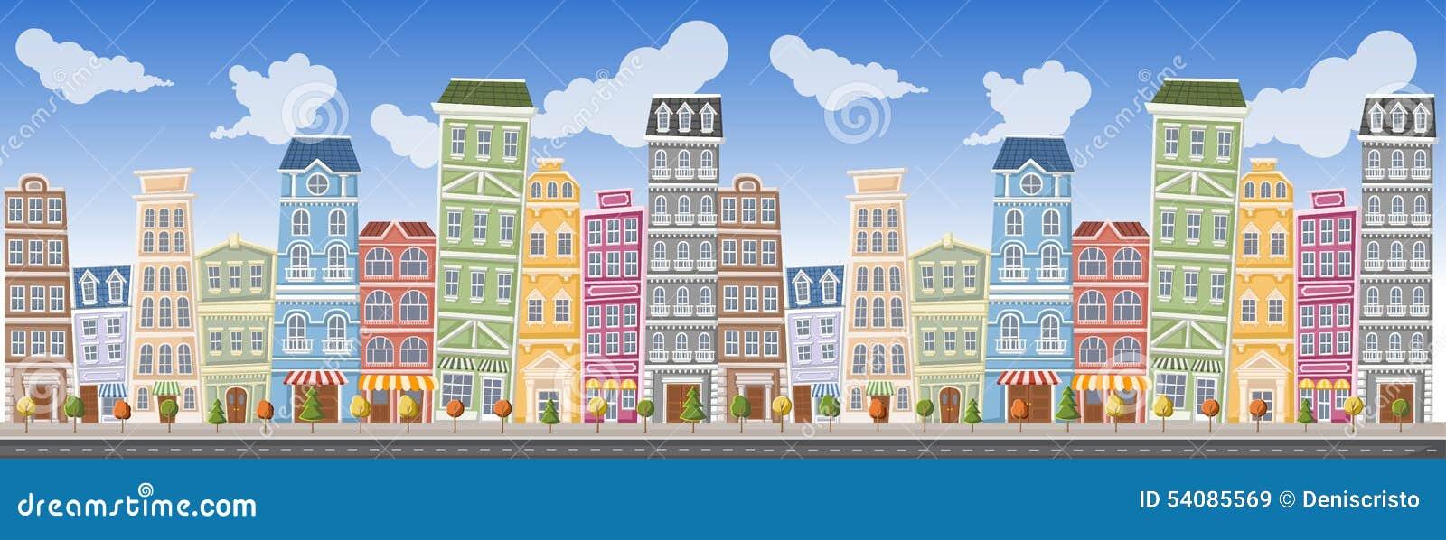 Groot kleurrijk stadslandschap