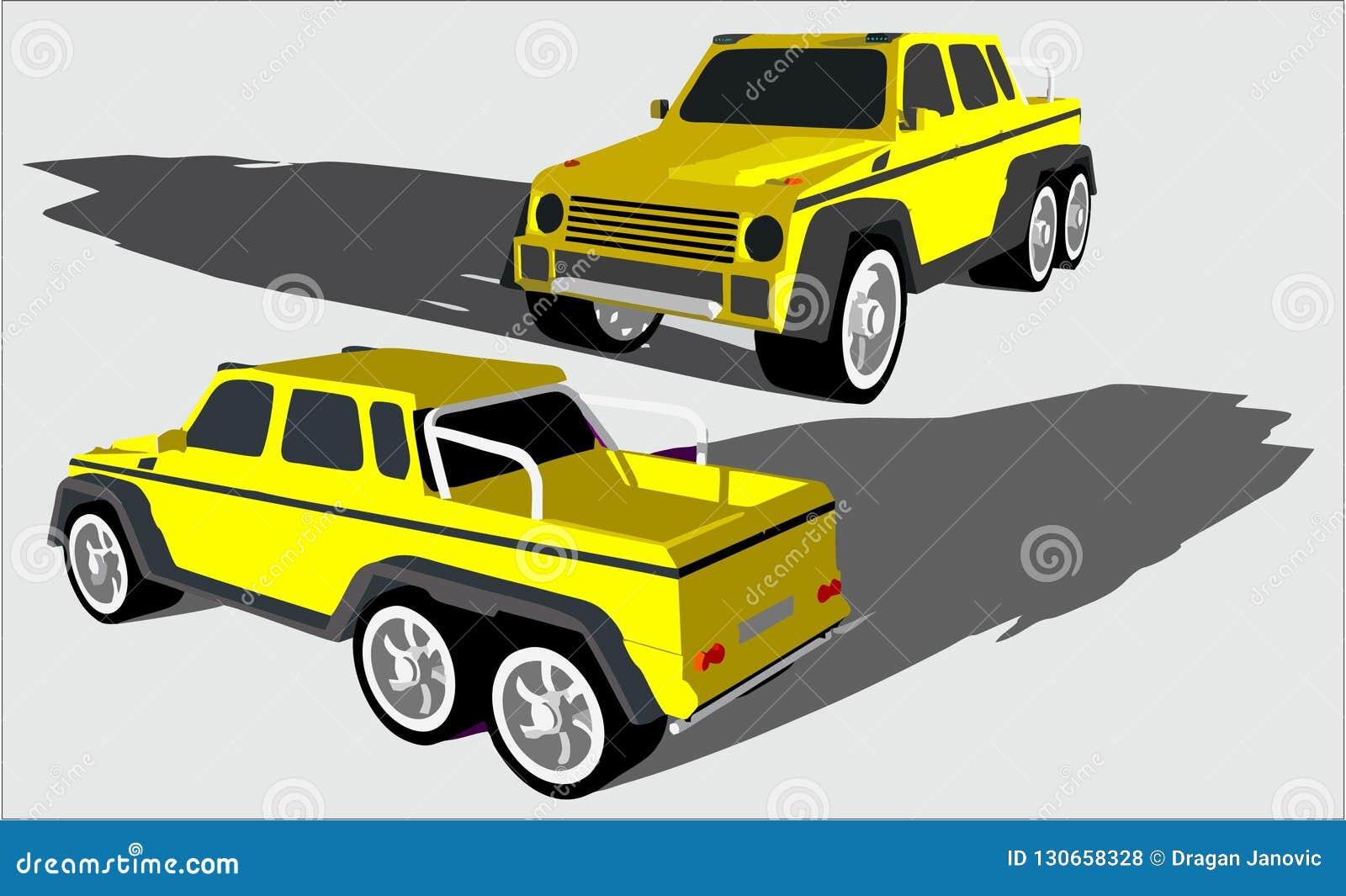 Groot off-road voertuig met zes wielen