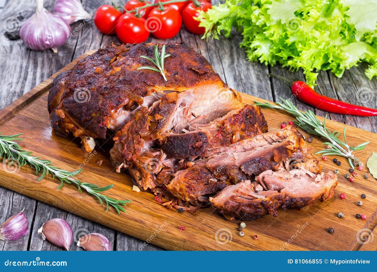 Groot Stuk van Langzame Gekookte oven-Geroosterde Getrokken Varkensvleesschouder