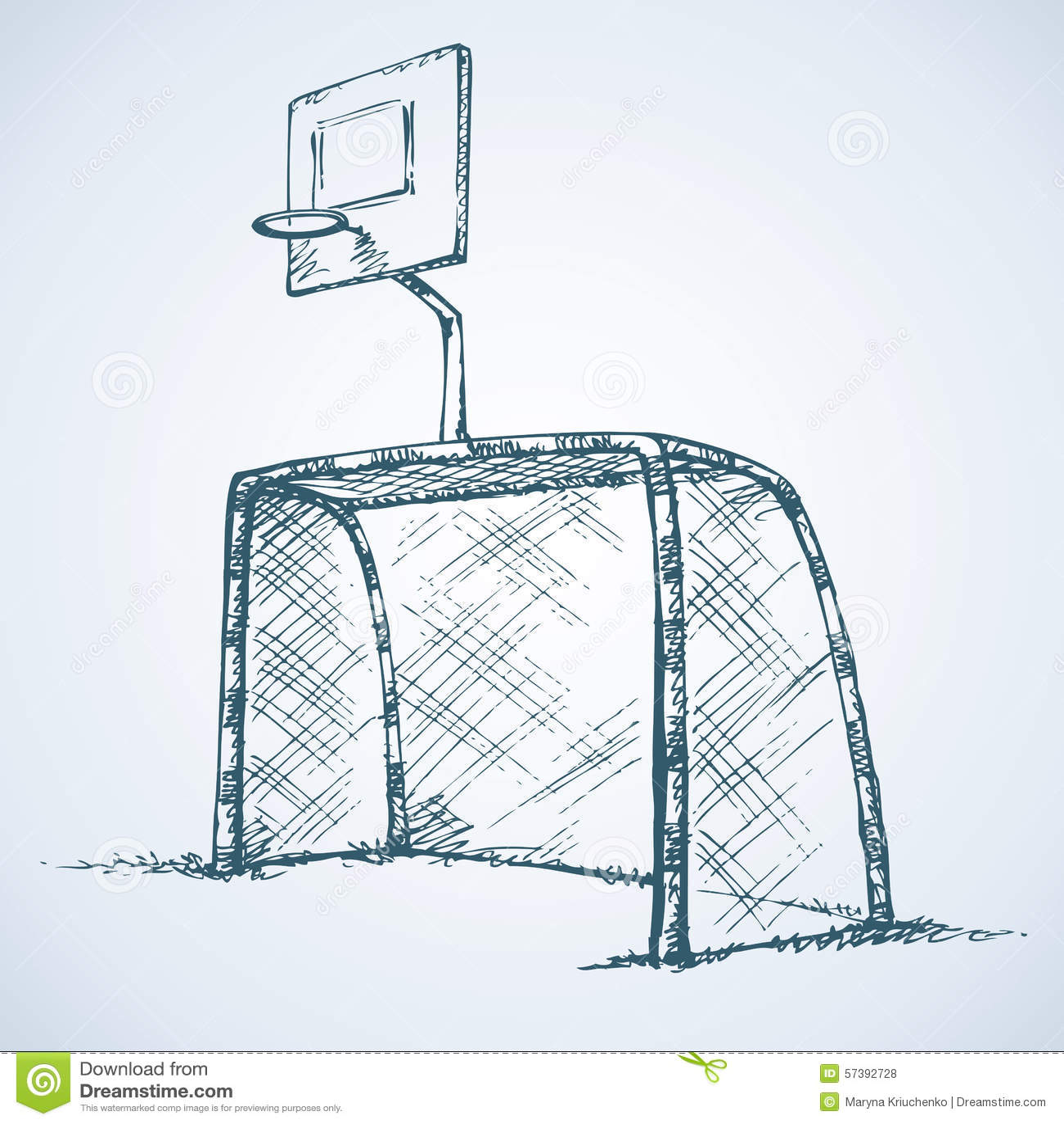 Groot voetbal en basketbaldoel Vector tekening