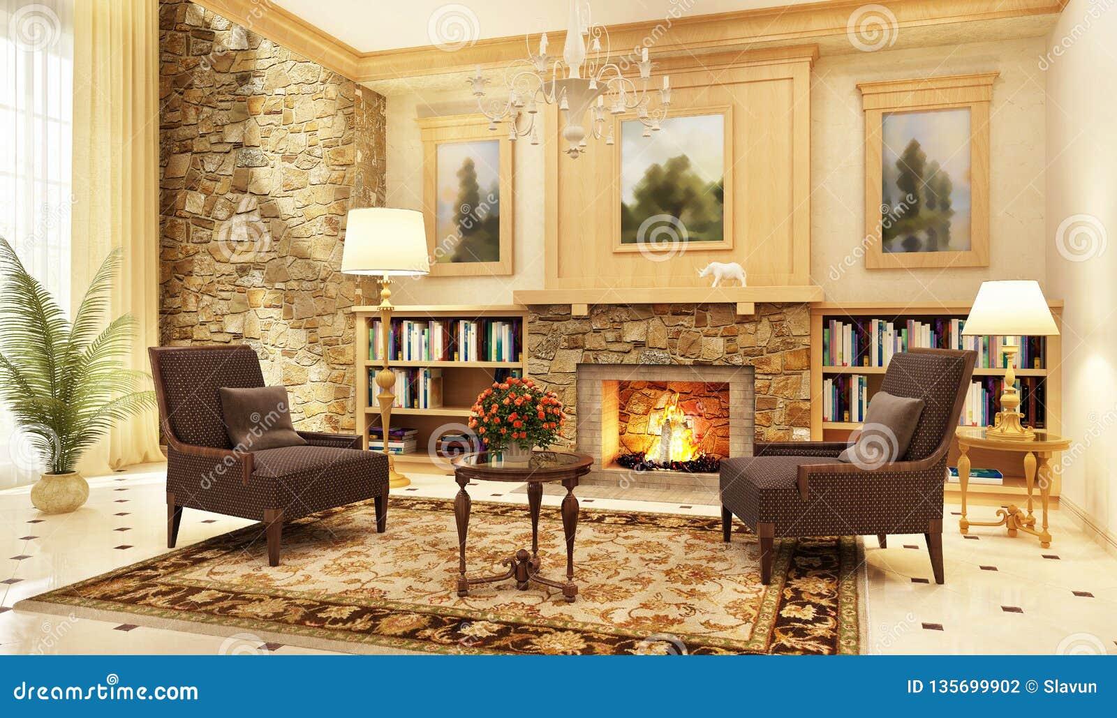 Groot woonkamer binnenlands ontwerp met open haard en leunstoelen
