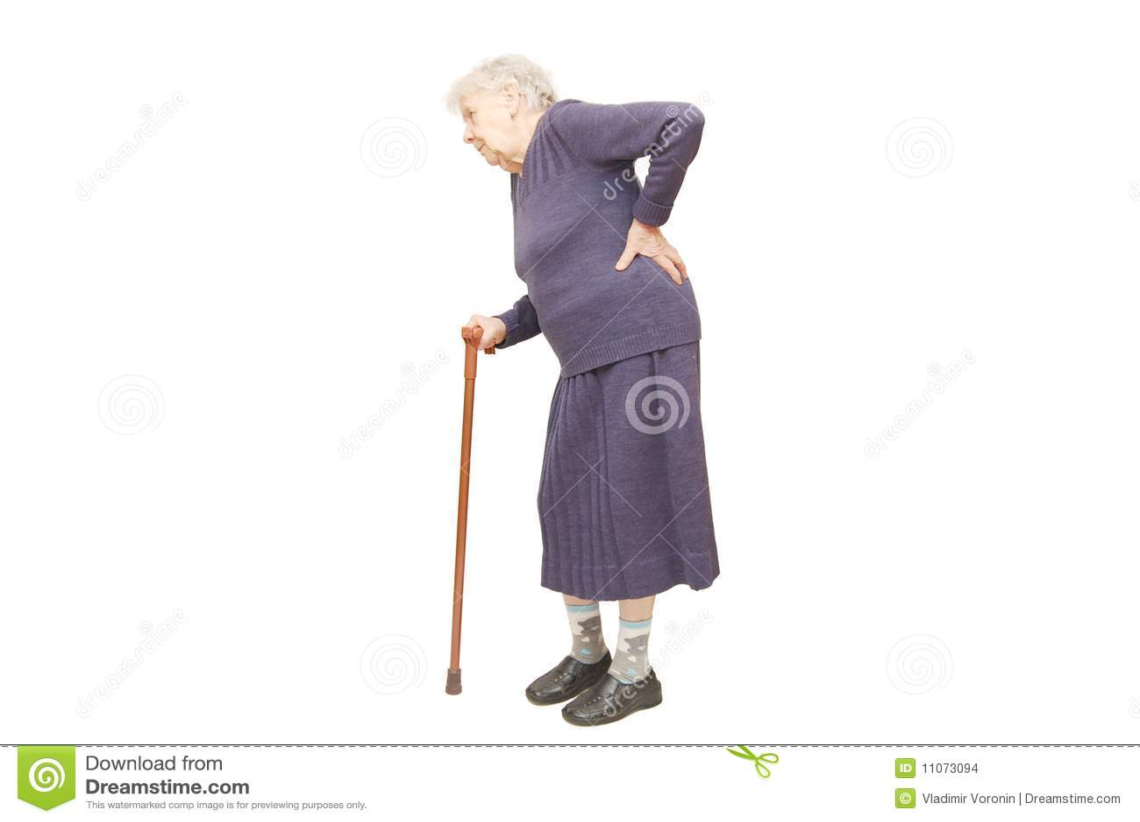 Grootmoeder die een riet houdt