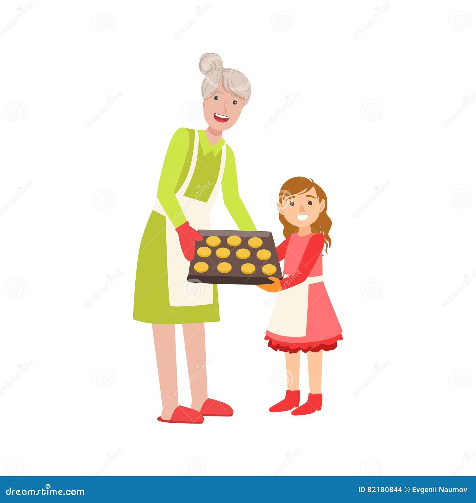 Grootmoeder en Kleindochter de Bakselkoekjes, een Deel die van Grootouderkleinkind Tijd overgaan plaatsen samen Illustraties