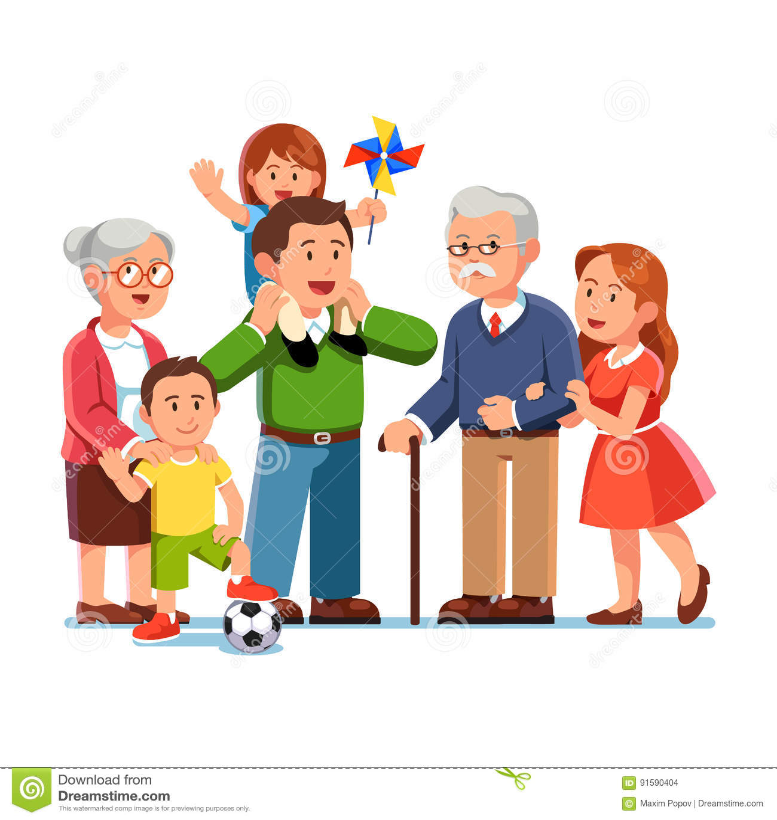 Grootouders, ouders die, kinderen zich verenigen
