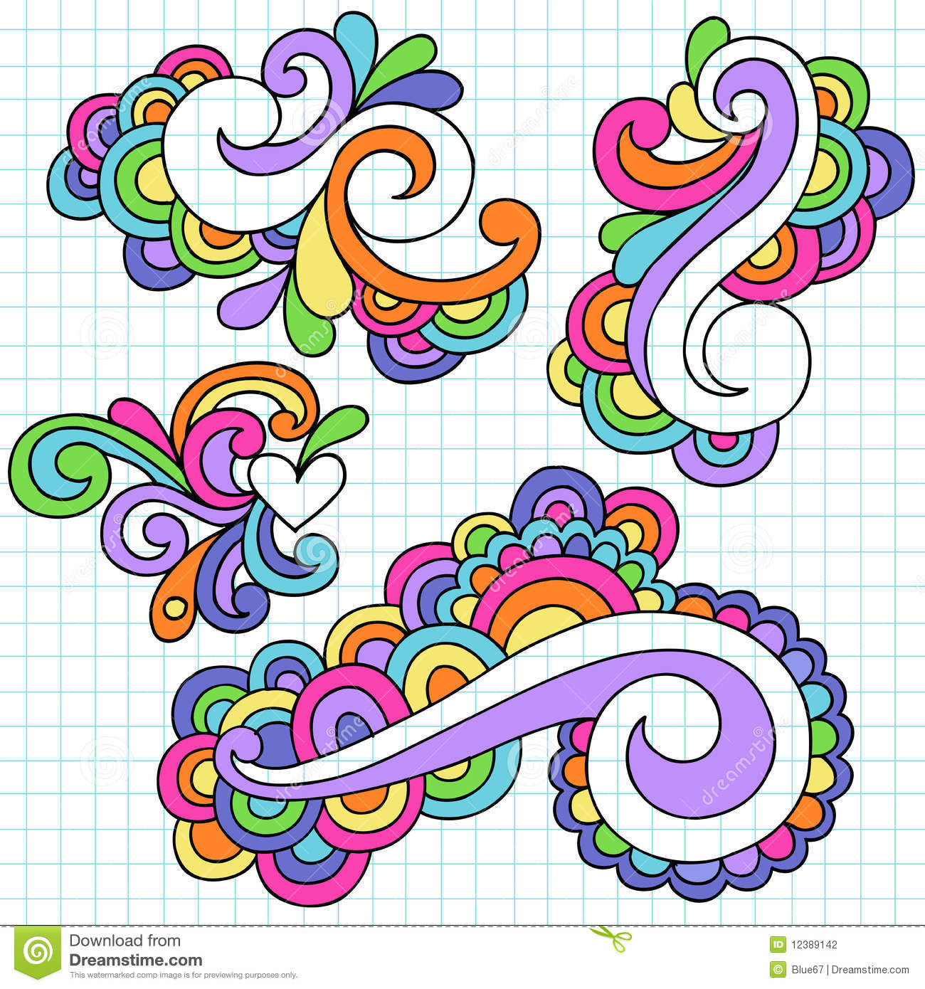 Groovy Notebook Doodle Design Elements Vector Stock Photography Image 12389142