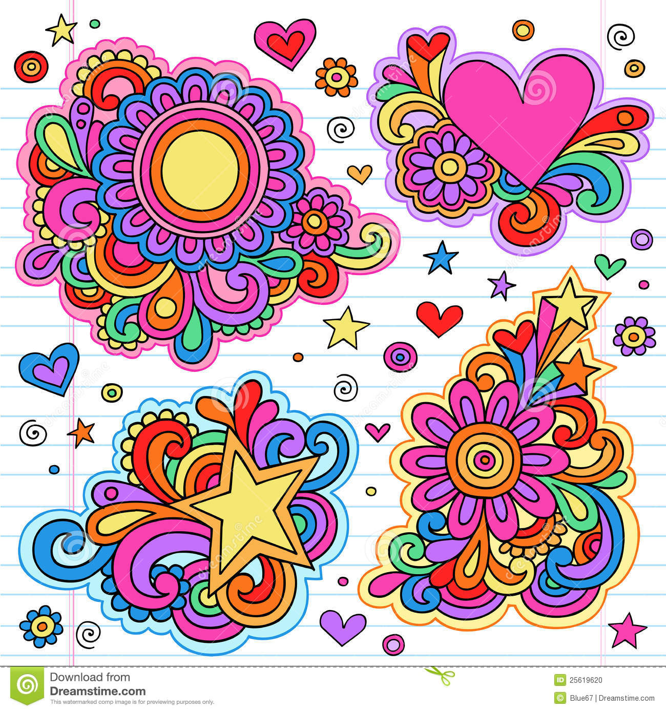 Frame Design Line Art : Groovy notebook doodle frames vector designs stock