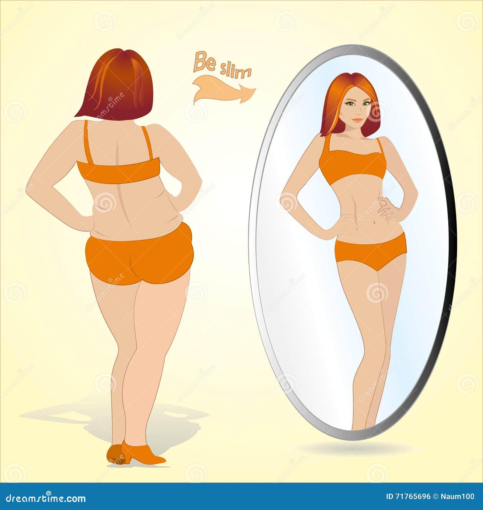 Grosse femme regardant dans le miroir et se voyant comme for Pics de chicks dans l miroir