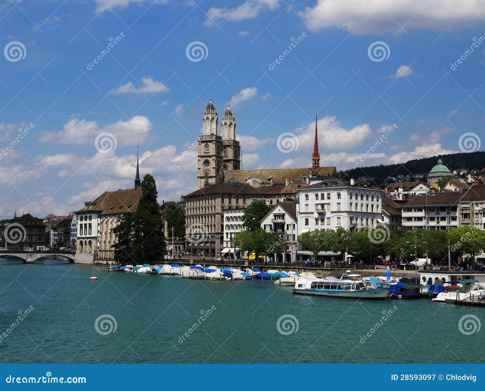 Grossmunster Skyline in Zurich, Switzerland