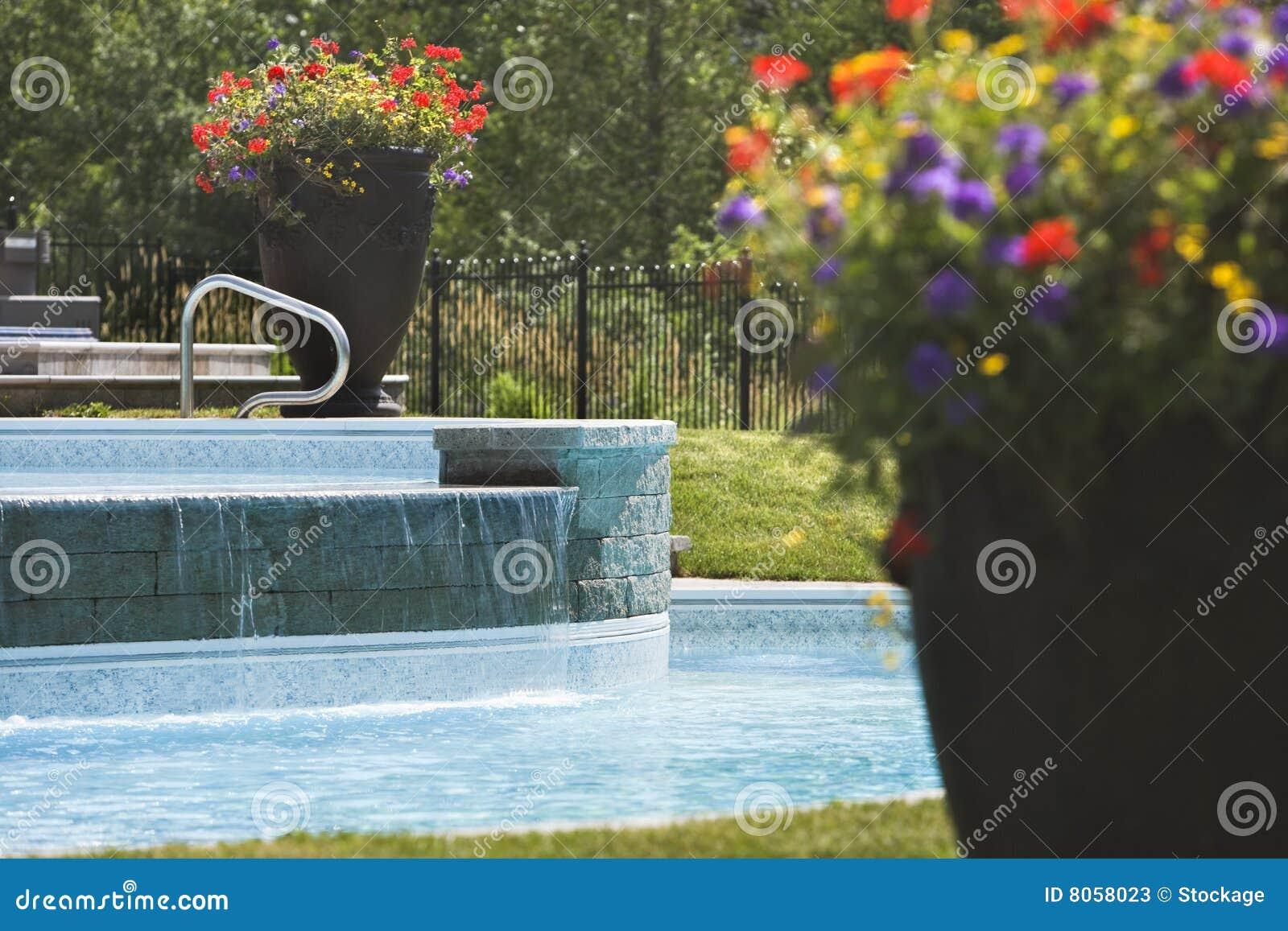 Grote bloempotten rond een zwembad stock foto 39 s afbeelding 8058023 - Ontwikkeling rond een zwembad ...