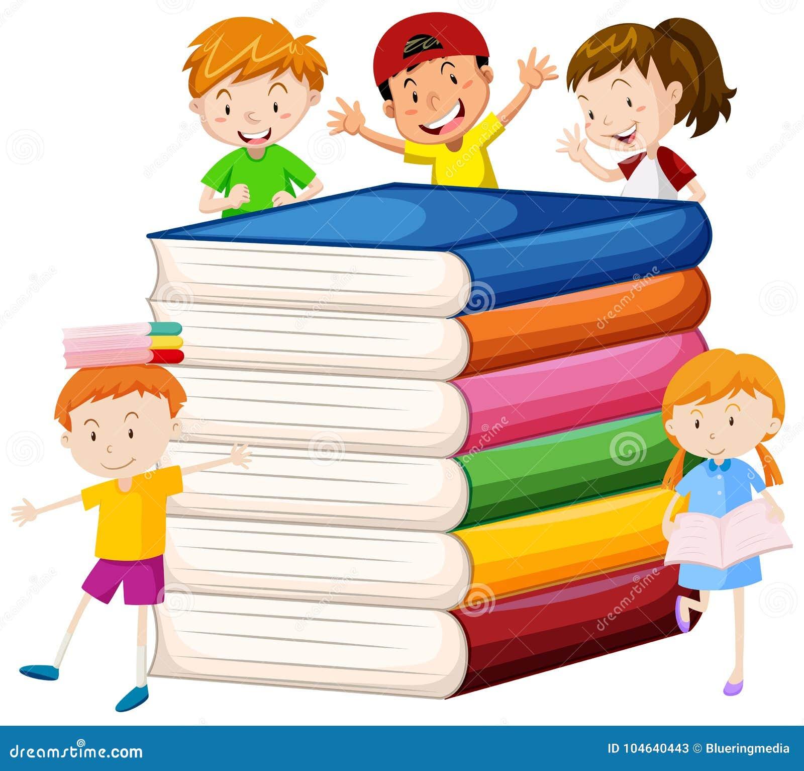 Download Grote Boeken En Gelukkige Kinderen Vector Illustratie - Illustratie bestaande uit clipping, lees: 104640443