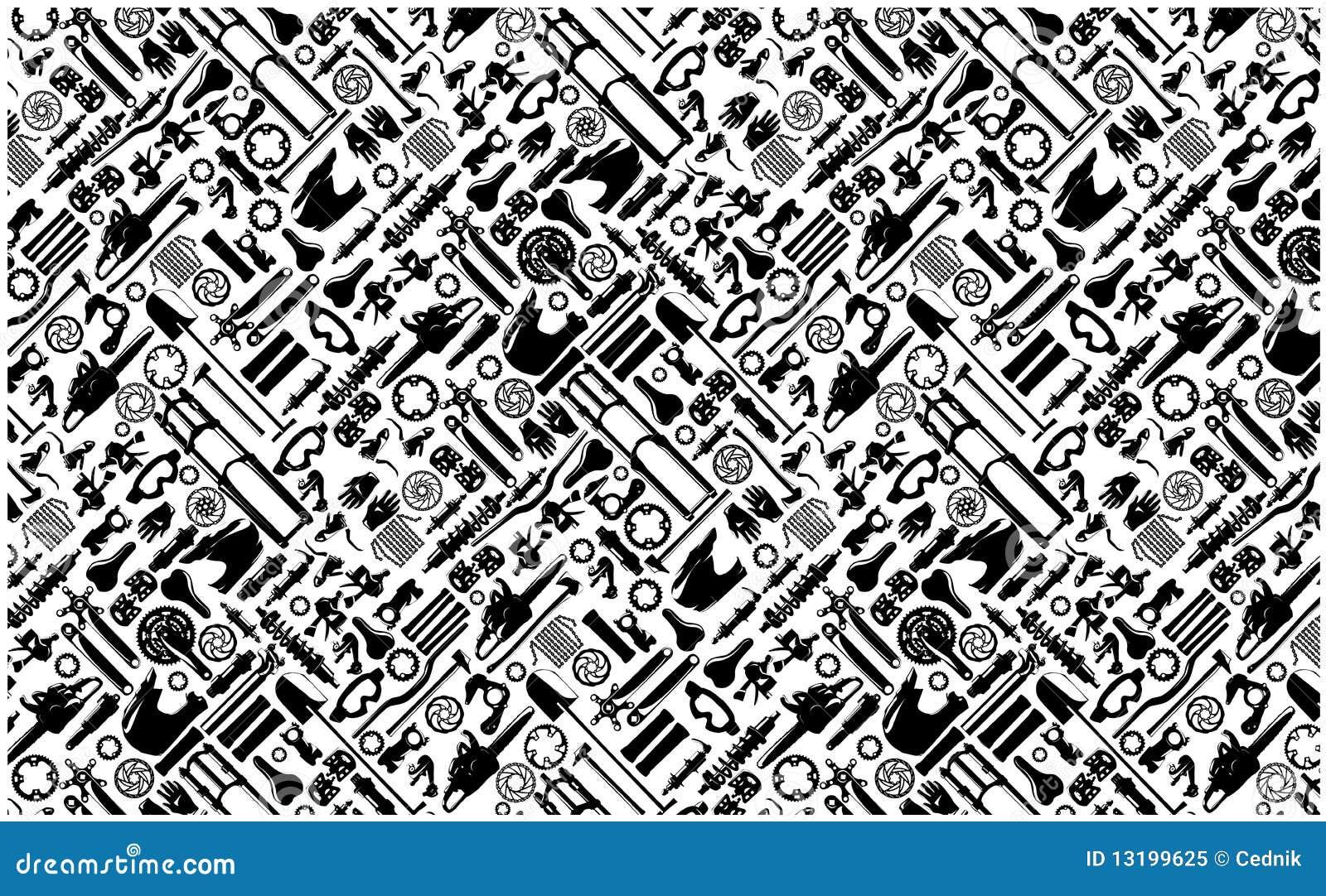 Grote colletion van het fietsdeel op naadloos patroon