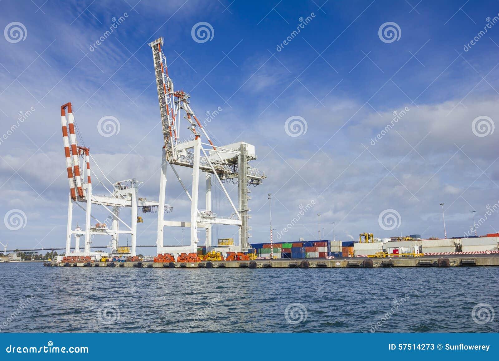 Grote containerkranen bij Swanson-Dok in de Haven van Melbourne