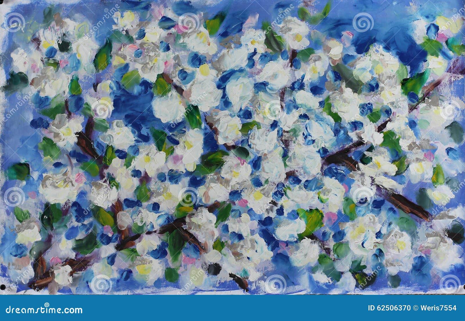 Grote de lente witte bloemen op de tak van een boom ...