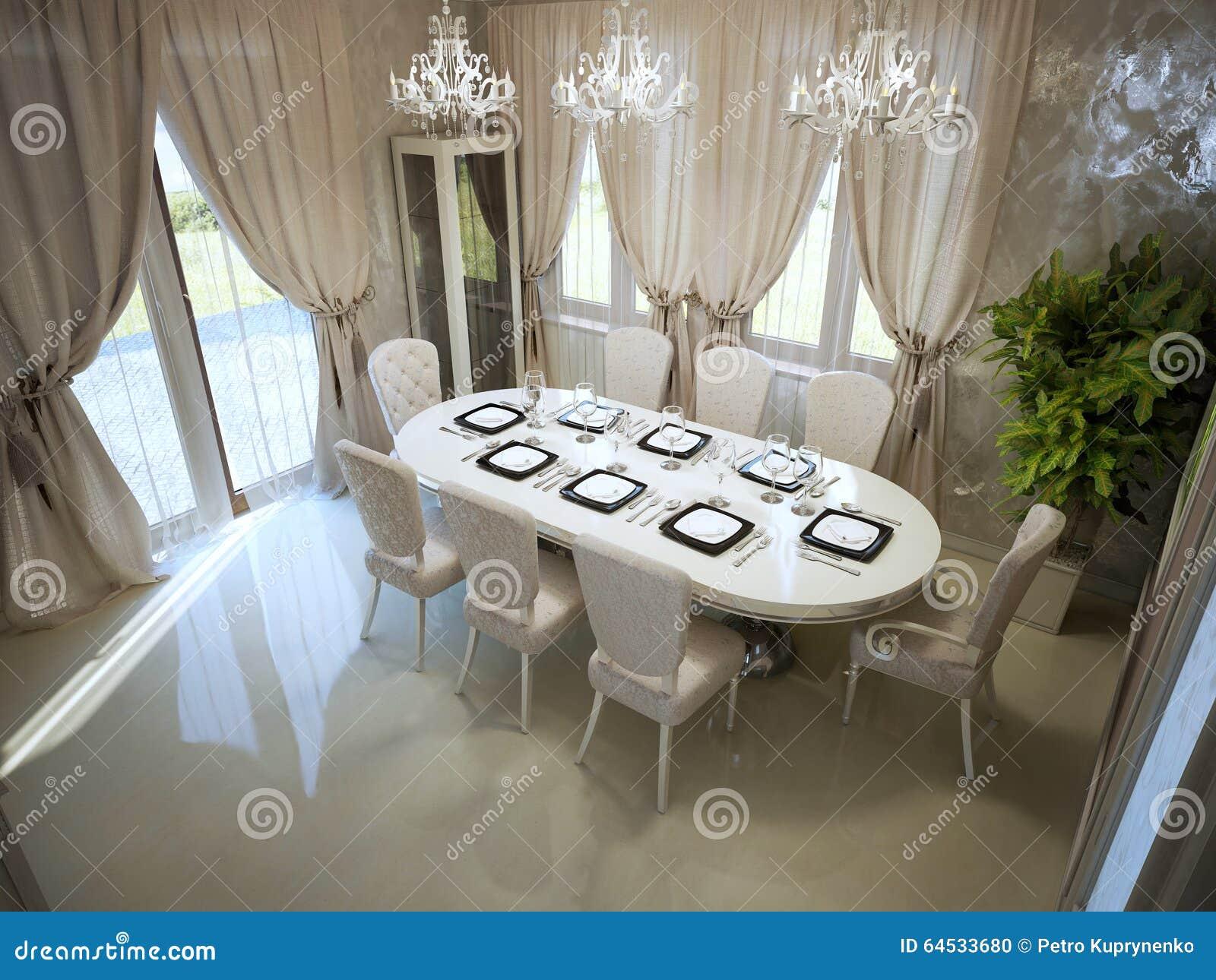 Moderne Grote Eettafel.Grote Eettafel In Spacyruimte Stock Foto Afbeelding Bestaande Uit