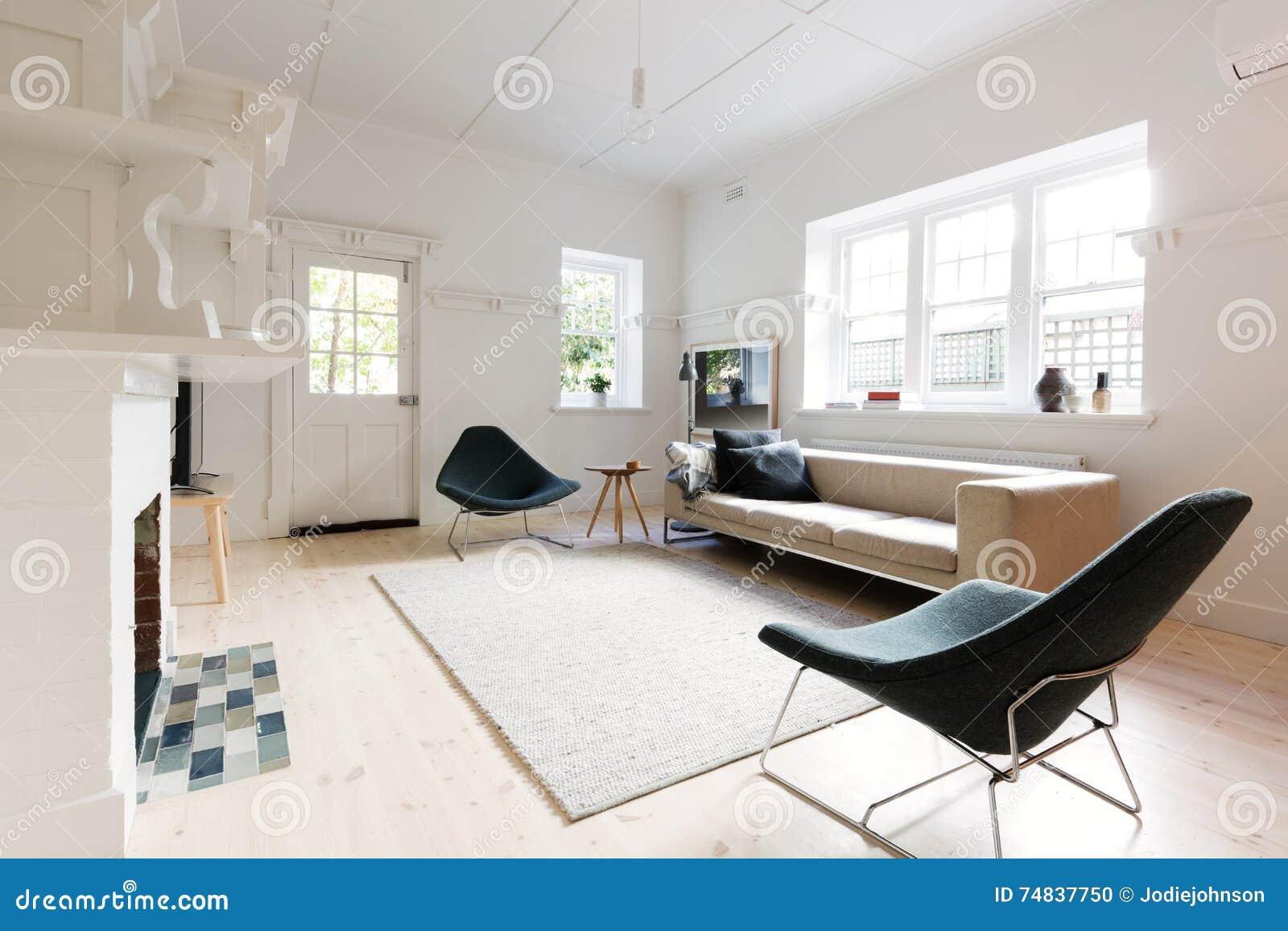Grote eigentijdse gestileerde woonkamer in de flat van melbourne