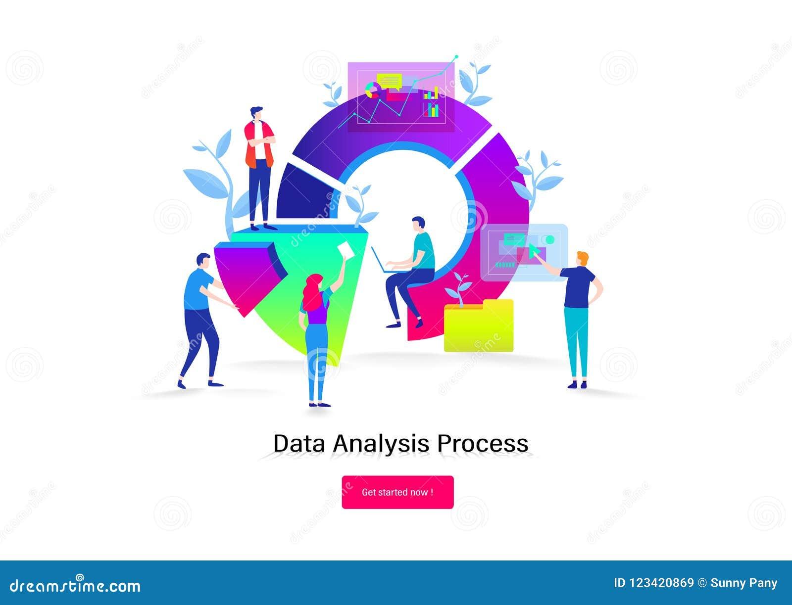 Grote gegevensanalyse Groepswerk, ontwikkelaar, programmeur Bedrijfs mensen De vlakke grafische vector van de beeldverhaal miniat