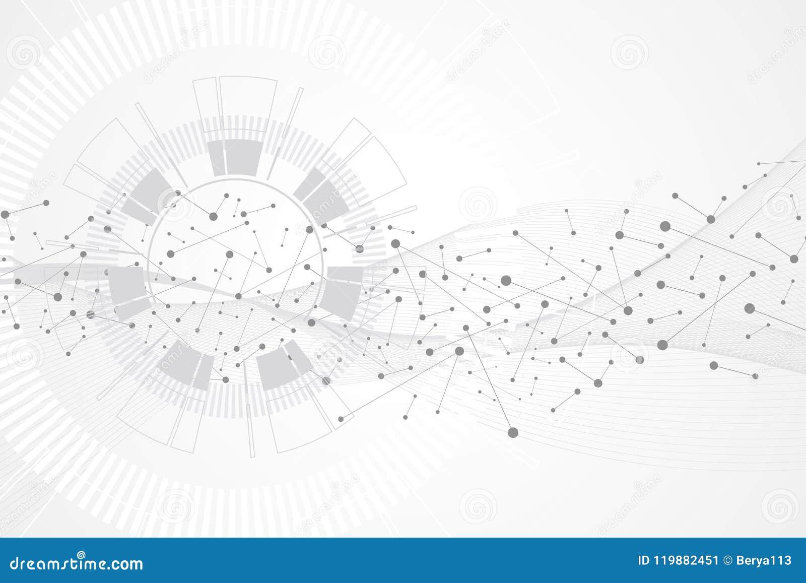 Grote gegevensvisualisatie Kunstmatige intelligentie en Machine het Leren Concept Grafische abstracte mededeling als achtergrond