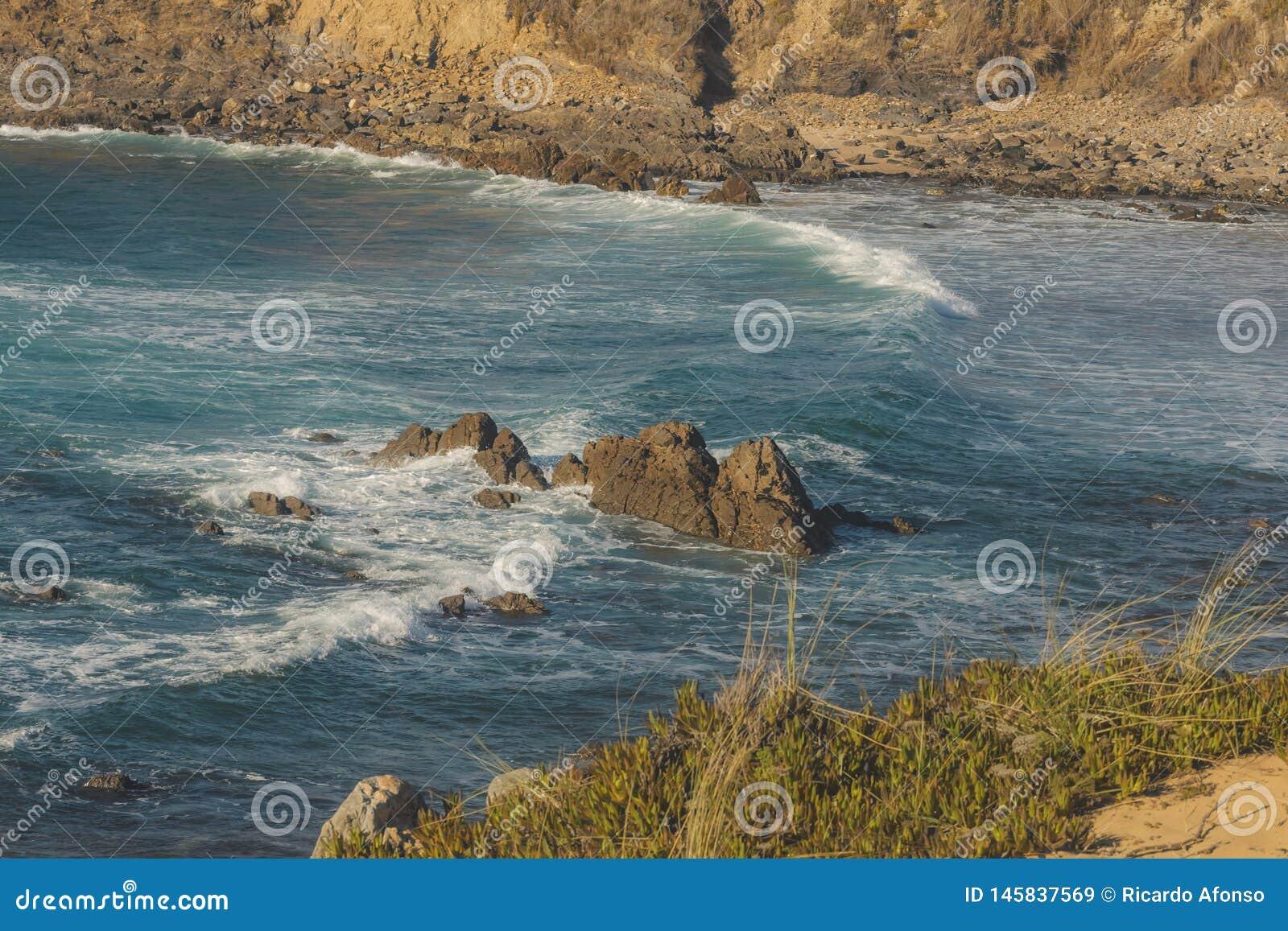 Grote golf die op de rots op het strand verpletteren