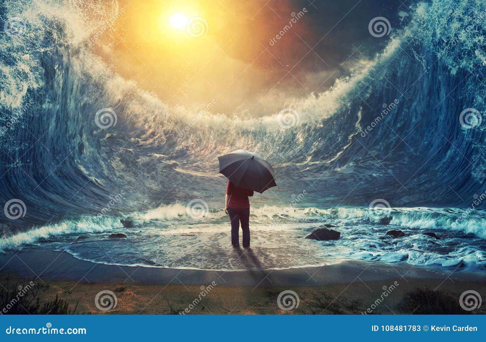 Grote golven en vrouw